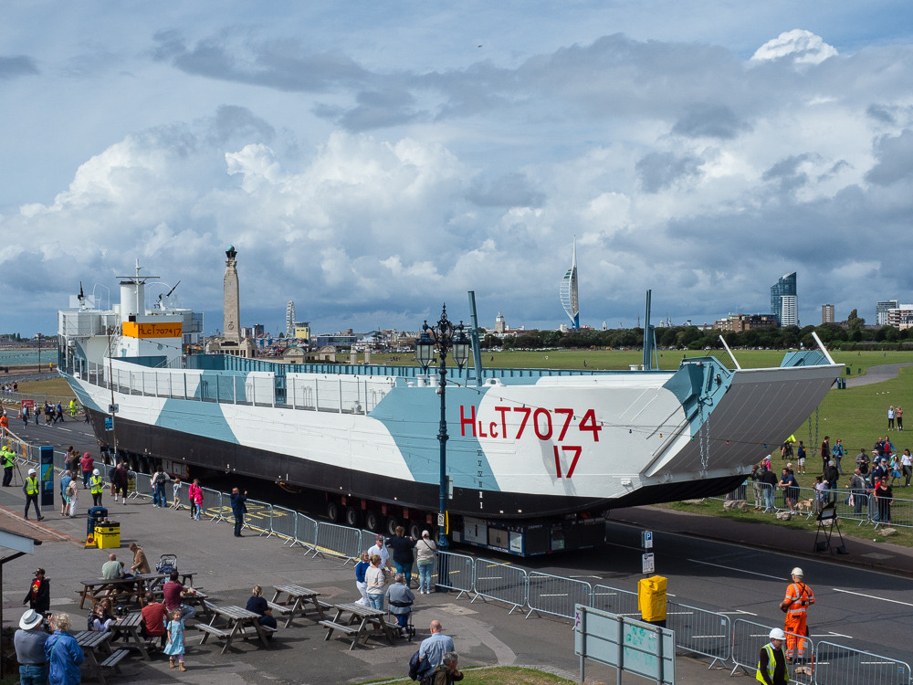 Photograph of LCT 7074 being moved along Clarence Esplanade